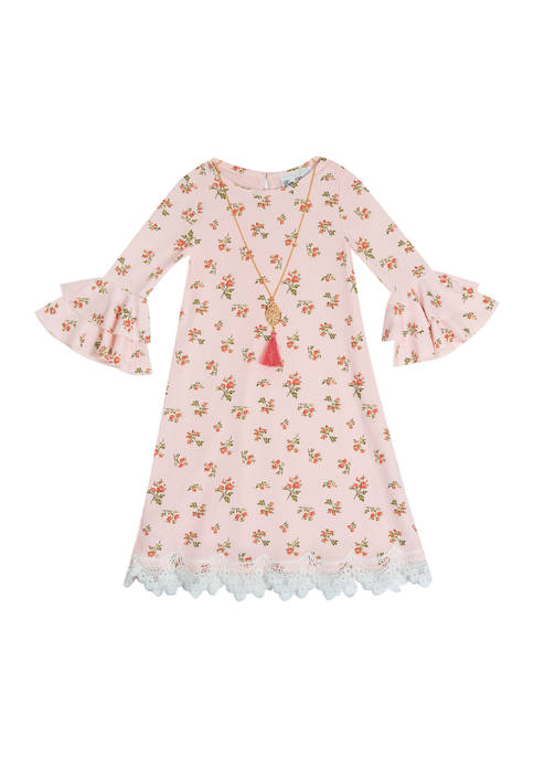 Rare Editions Girls 4-6x Printed Rib Knit Dress