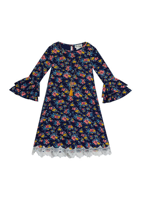 Rare Editions Girls 4-6x Printed Rib Knit Dress
