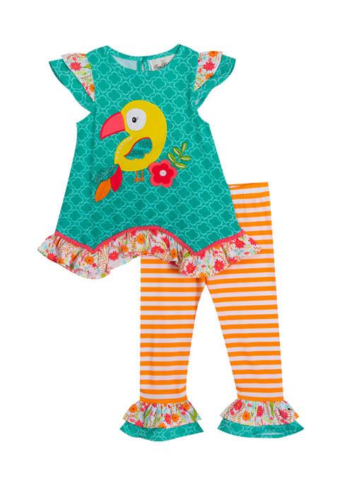 Girls 4-6x Knit Bird Top and Stripe Leggings Set