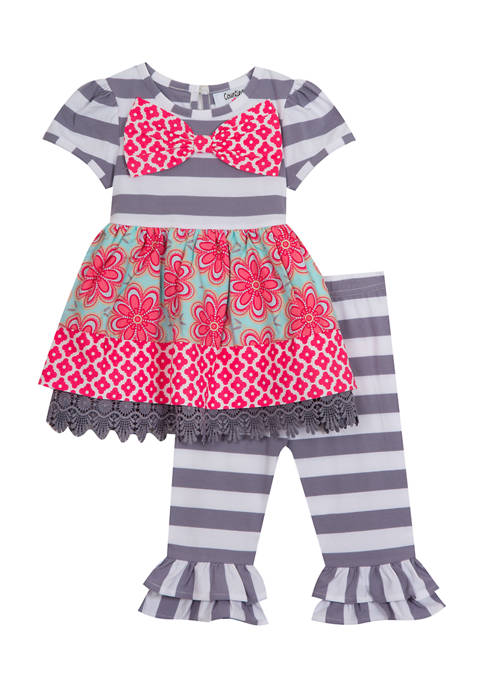 Counting Daisies Girls 4-6x Stripe Top and Mix