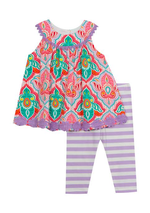 Girls 4-6x Printed Knit Top and Stripe Leggings Set