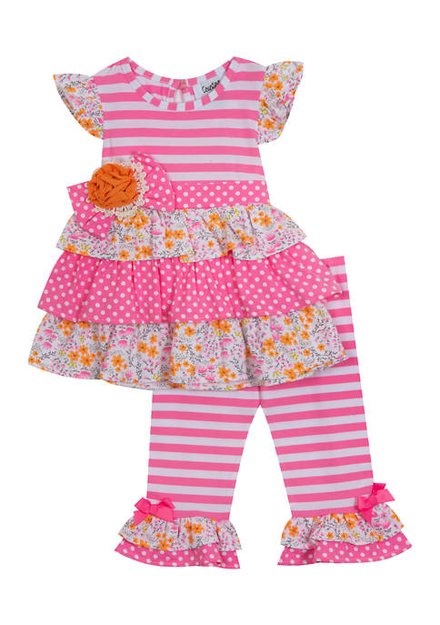 Counting Daisies Girls 4-6x Stripe Knit Mix Print
