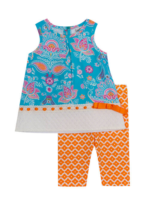 Counting Daisies Girls 4-6x Multi Color Damask Printed