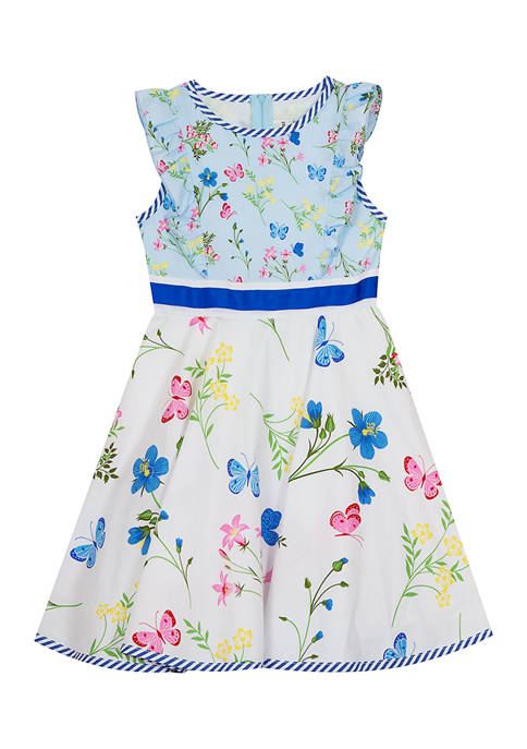 Counting Daisies Girls 4-6x Butterfly Floral Print Poplin