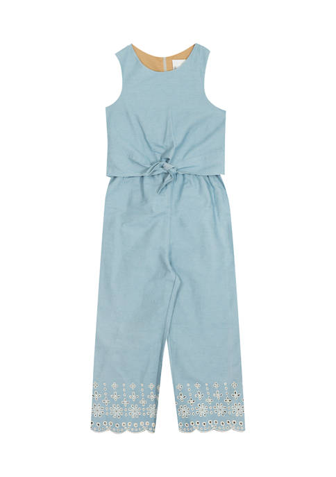 Girls 4-6x Chambray Jumpsuit with Eyelet Embroidery
