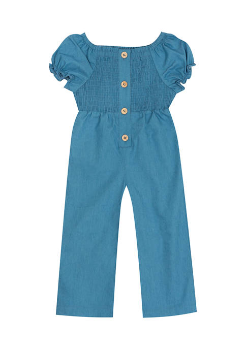 Counting Daisies Girls 4-6x Chambray Smocked Bodice Jumpsuit