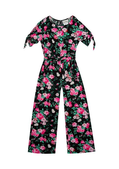 Counting Daisies Girls 4-6x Printed Rib Knit Jumpsuit