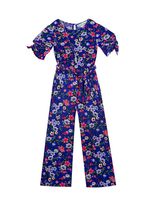 Girls 4-6x Printed Rib Knit Jumpsuit with Tie Belt and Necklace