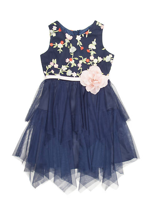 Rare Editions Girls 7-16 Rose Belt Party Dress