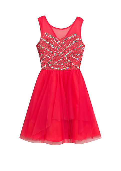 Rare Editions Girls 7-16 Coral Bejeweled Mesh Dress