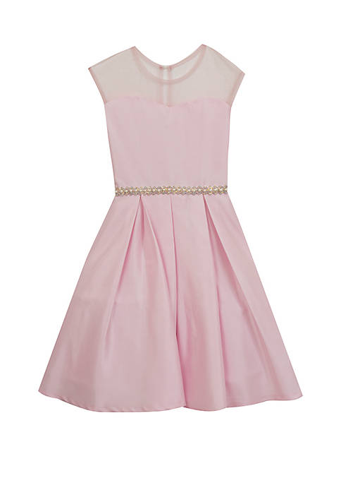 GIrls 7-16 Pink Illusion Fit and Flare Dress