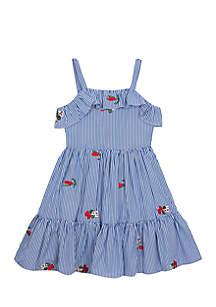 Seersucker Stripe Ruffle Front Tiered Dress Girls 7-16