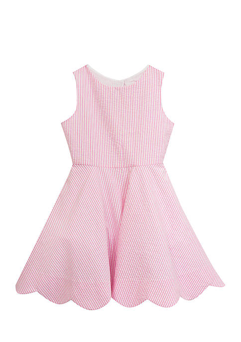 Girls 7-16 Scallop Hem Seersucker Dress