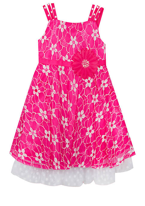 Rare Editions Girls 7-16 Daisy Belted Textured Dress