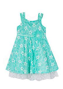 Girls 7-16 Daisy Belted Textured Dress