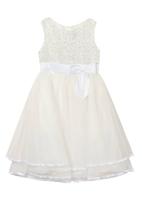 Rare Editions Girls 7-16 White Silky Social Tiered