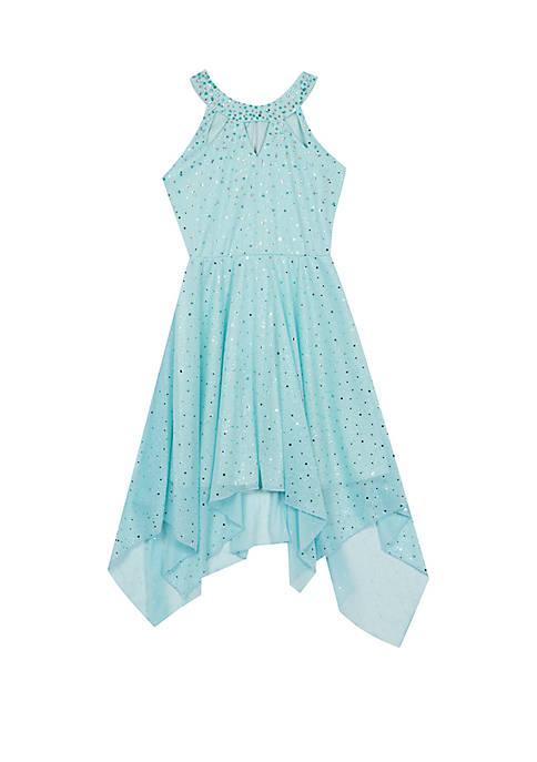 Rare Editions Girls 7-16 Mint Sparkle Handkerchief Hem