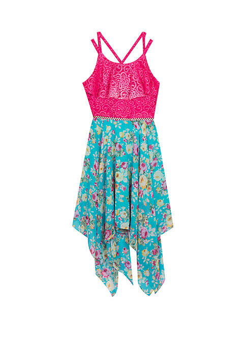 Girls 7-16 Pink Lace Flounce Teal Floral Skirt Dress