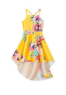 Girls 7-16 Yellow Floral High Low Dress