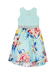 Girls 7-16 Mint Lace to Floral Skirt High Low Dress