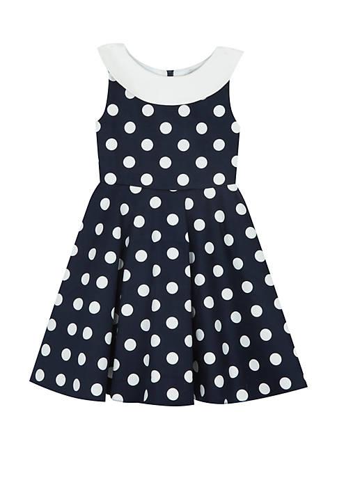 Girls 7-16 Navy Dot Nautical Dress
