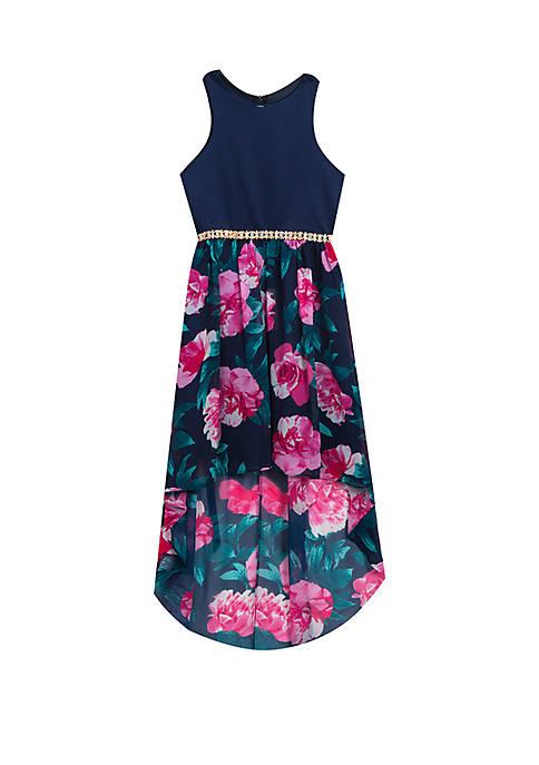 Rare Editions Girls 7-16 Navy Floral Hi-Lo Dress 2470a6b1b