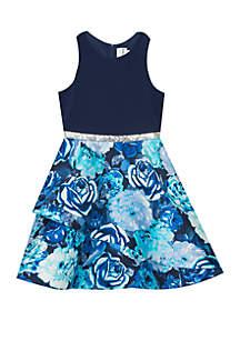 Girls 7-16 Navy Cobalt Floral Dress
