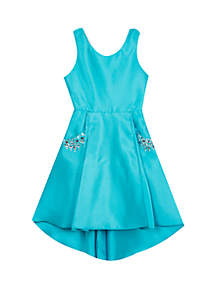 Rare Editions Girls 7-16 Teal Jewel Pocket High Low Dress