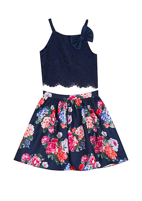 Rare Editions Girls 7-16 Navy Lace to Floral