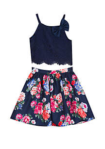 Rare Editions Girls 7-16 Navy Lace to Floral 2-Piece Dress