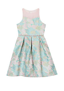 Rare Editions Girls 7-16 Pink Mint Illusion Jacquard Dress