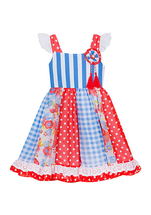 Rare Editions Girls 7-16 Red Blue Dot Gingham