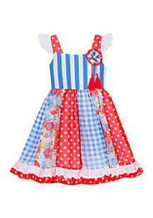 Rare Editions Girls 7-16 Red Blue Dot Gingham Dress