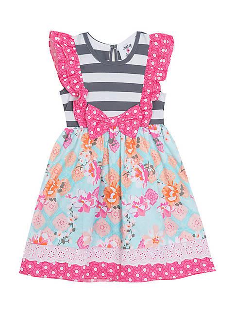 Girls 7-16 Pink and Gray Mixed Media Print Dress