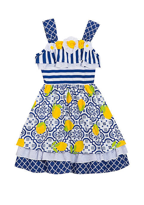 Girls 7-16 Navy Dress with Lemons