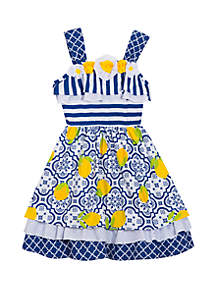 Rare Editions Girls 7-16 Navy Dress with Lemons
