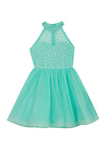 Girls 7-16 Aqua Jewel Halter Party Dress