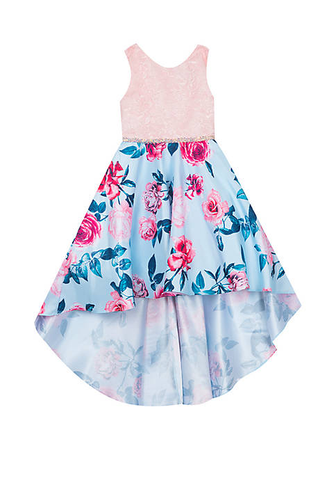 Rare Editions Girls 7-16 Pink to Blue Floral