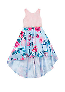 Rare Editions Girls 7-16 Pink to Blue Floral High Low Dress