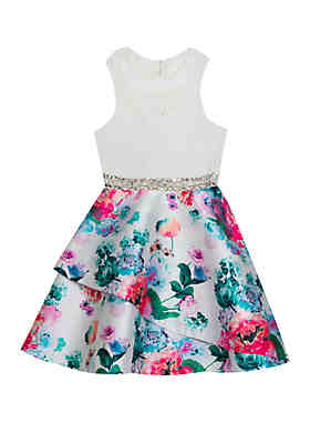 69613cfa4 Rare Editions Girls 7-16 White Lace to Floral Skirt Dress ...