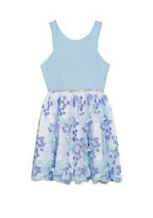 Rare Editions Girls 7-16 Baby Blue Multi Color 3D Butterfly Dress
