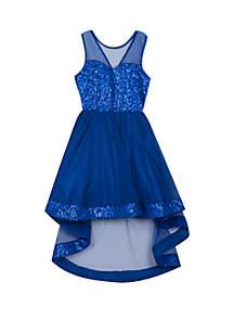 Girls 7-16 Cobalt Sequin High Low Illusion Dress