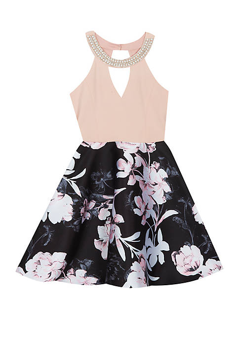 Rare Editions Girls 7-16 Blush to Black Floral