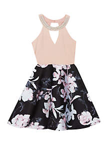Girls 7-16 Blush to Black Floral Halter Skater Dress