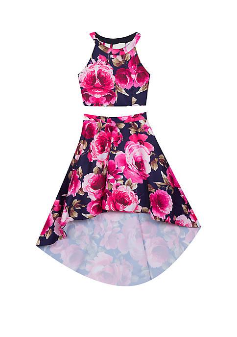 Girls 7-16 Navy Fuchsia 2 Piece Floral Dress