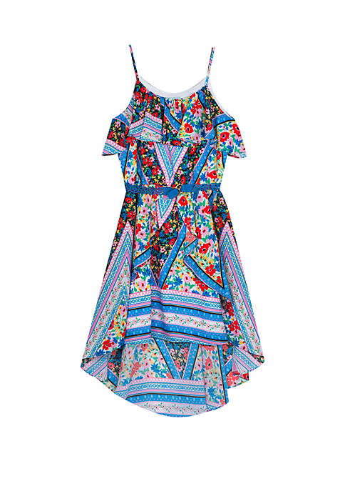 Rare Editions Girls 7-16 Blue Mixed Print Off