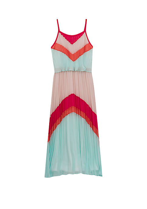 Girls 7-16 Colorblock Pleated Maxi Dress