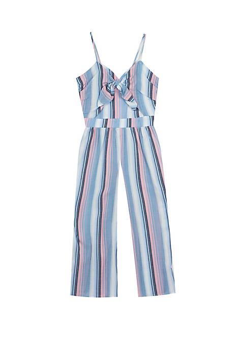 6767430fe72 Rare Editions Girls 7-16 Chambray Multi Color Stripe Linen Jumpsuit ...