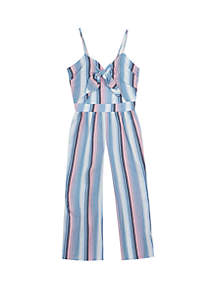 9d404f8ee777 ... Rare Editions Girls 7-16 Chambray Multi Color Stripe Linen Jumpsuit