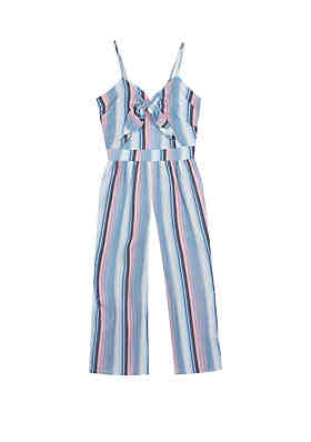 0e683efab4d0 Rare Editions Girls 7-16 Chambray Multi Color Stripe Linen Jumpsuit ...